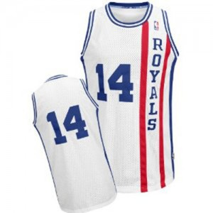 Maillot NBA Blanc Oscar Robertson #14 Sacramento Kings Throwback Authentic Homme Adidas