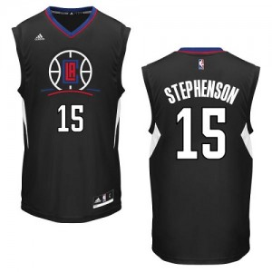 Maillot NBA Noir Lance Stephenson #15 Los Angeles Clippers Alternate Authentic Homme Adidas
