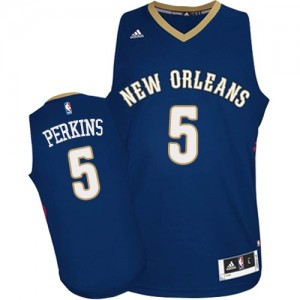 Maillot Adidas Bleu marin Road Authentic New Orleans Pelicans - Kendrick Perkins #5 - Homme