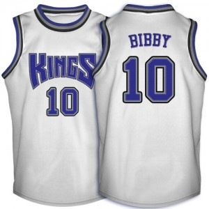 Maillot NBA Sacramento Kings #10 Mike Bibby Blanc Adidas Swingman Throwback - Homme