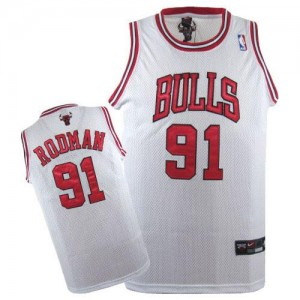 Maillot NBA Chicago Bulls #91 Dennis Rodman Blanc Nike Authentic - Homme