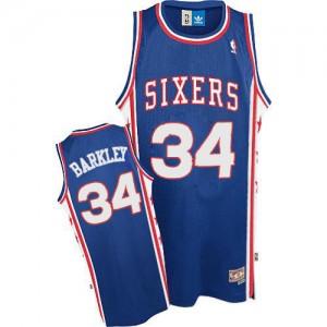 Maillot Authentic Philadelphia 76ers NBA Throwback Bleu - #34 Charles Barkley - Homme