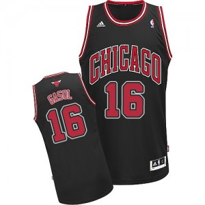 Maillot NBA Noir Pau Gasol #16 Chicago Bulls Alternate Swingman Homme Adidas