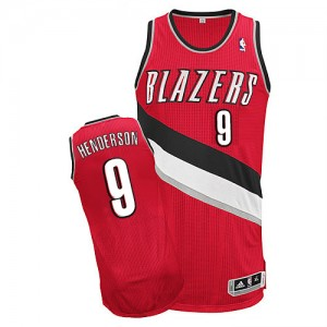 Maillot Adidas Rouge Alternate Authentic Portland Trail Blazers - Gerald Henderson #9 - Homme