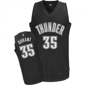 Maillot NBA Authentic Kevin Durant #35 Oklahoma City Thunder Noir Blanc - Homme