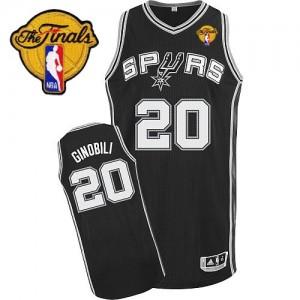 Maillot NBA Authentic Manu Ginobili #20 San Antonio Spurs Road Finals Patch Noir - Homme