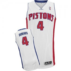 Maillot NBA Detroit Pistons #4 Joe Dumars Blanc Adidas Authentic Home - Homme