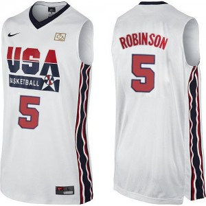 Maillot NBA Blanc David Robinson #5 Team USA 2012 Olympic Retro Authentic Homme Nike