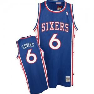 Philadelphia 76ers Mitchell and Ness Julius Erving #6 Throwback Authentic Maillot d'équipe de NBA - Bleu pour Homme