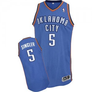 Maillot NBA Oklahoma City Thunder #5 Kyle Singler Bleu royal Adidas Authentic Road - Homme