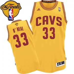 Maillot NBA Cleveland Cavaliers #33 Shaquille O'Neal Or Adidas Swingman Alternate 2015 The Finals Patch - Homme
