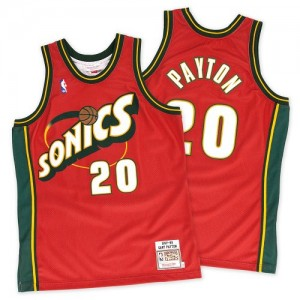 Oklahoma City Thunder Mitchell and Ness Gary Payton #20 Throwback SuperSonics Authentic Maillot d'équipe de NBA - Rouge pour Homme