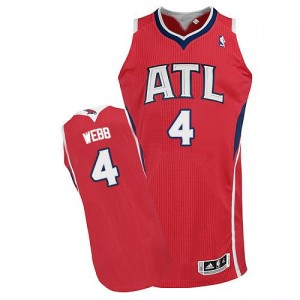 Maillot Authentic Atlanta Hawks NBA Alternate Rouge - #4 Spud Webb - Homme