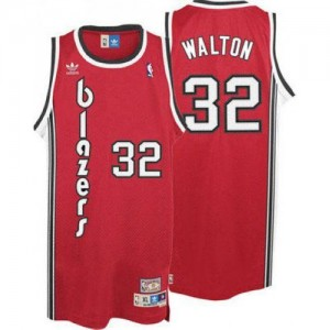 Maillot Authentic Portland Trail Blazers NBA Throwback Rouge - #32 Bill Walton - Homme