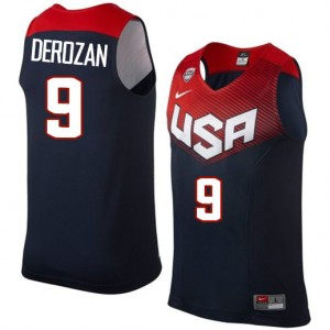 Maillot NBA Bleu marin DeMar DeRozan #9 Team USA 2014 Dream Team Authentic Homme Nike