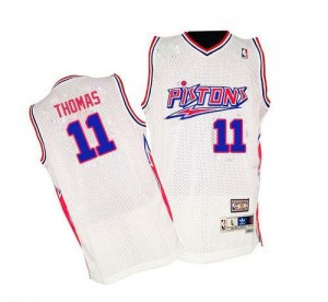 Maillot NBA Authentic Isiah Thomas #11 Detroit Pistons Throwback Blanc - Homme