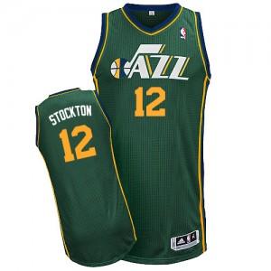 Maillot NBA Vert John Stockton #12 Utah Jazz Alternate Authentic Homme Adidas
