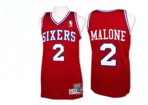 Philadelphia 76ers Moses Malone #2 Throwback Swingman Maillot d'équipe de NBA - Rouge pour Homme