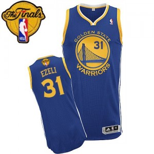 Maillot NBA Authentic Festus Ezeli #31 Golden State Warriors Road 2015 The Finals Patch Bleu royal - Homme
