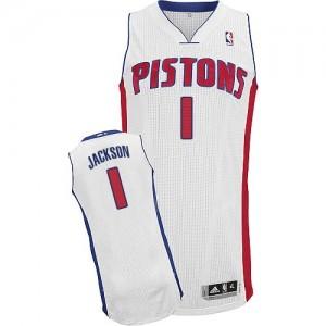 Detroit Pistons #1 Adidas Home Blanc Authentic Maillot d'équipe de NBA la vente - Reggie Jackson pour Homme