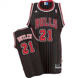 Maillot Authentic Chicago Bulls NBA Strip Noir Rouge - #21 Jimmy Butler - Homme