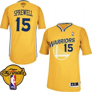 Golden State Warriors #15 Adidas Alternate 2015 The Finals Patch Or Authentic Maillot d'équipe de NBA Promotions - Latrell Sprewell pour Homme