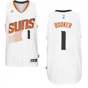 Maillot NBA Phoenix Suns #1 Devin Booker Blanc Adidas Authentic Home - Homme