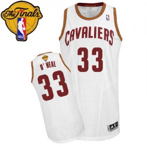 Maillot NBA Cleveland Cavaliers #33 Shaquille O'Neal Blanc Adidas Authentic Home 2015 The Finals Patch - Homme