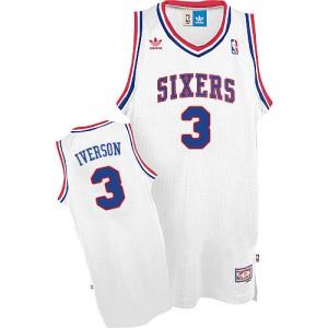 Philadelphia 76ers #3 Adidas Throwack Blanc Swingman Maillot d'équipe de NBA en soldes - Allen Iverson pour Homme