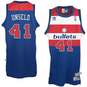 Maillot Adidas Bleu Bullets Throwback Authentic Washington Wizards - Wes Unseld #41 - Homme