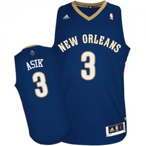 Maillot Adidas Bleu marin Road Authentic New Orleans Pelicans - Omer Asik #3 - Homme