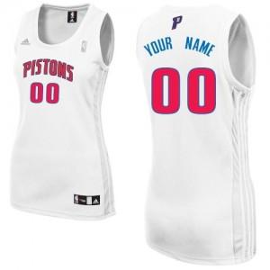 Maillot NBA Blanc Swingman Personnalisé Detroit Pistons Home Femme Adidas
