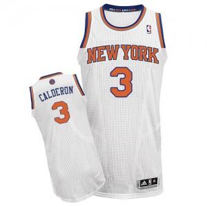 Maillot NBA Blanc Jose Calderon #3 New York Knicks Home Authentic Homme Adidas