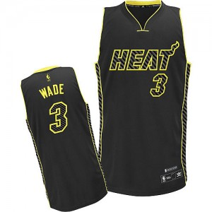 Maillot Adidas Noir Electricity Fashion Authentic Miami Heat - Dwyane Wade #3 - Homme