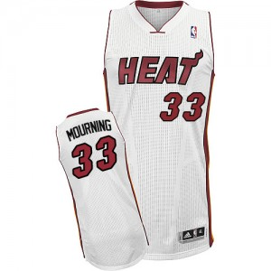 Maillot NBA Miami Heat #33 Alonzo Mourning Blanc Adidas Authentic Home - Homme