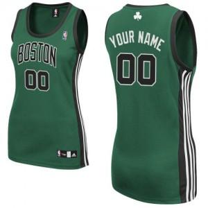 Boston Celtics Authentic Personnalisé Alternate Maillot d'équipe de NBA - Vert (No. noir) pour Femme