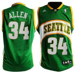 Oklahoma City Thunder #34 Adidas Seattle SuperSonics Style Vert Swingman Maillot d'équipe de NBA 100% authentique - Ray Allen pour Homme