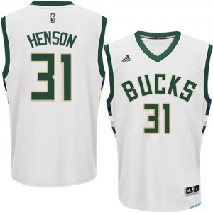 Maillot NBA Milwaukee Bucks #31 John Henson Blanc Adidas Swingman Home - Homme