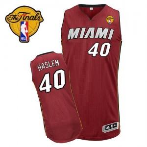 Miami Heat Udonis Haslem #40 Alternate Finals Patch Authentic Maillot d'équipe de NBA - Rouge pour Homme