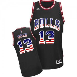 Maillot Adidas Noir USA Flag Fashion Swingman Chicago Bulls - Joakim Noah #13 - Homme