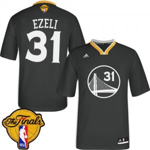 Maillot NBA Authentic Festus Ezeli #31 Golden State Warriors Alternate 2015 The Finals Patch Noir - Homme