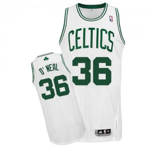 Maillot NBA Boston Celtics #36 Shaquille O'Neal Blanc Adidas Authentic Home - Homme