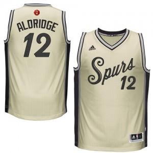 San Antonio Spurs LaMarcus Aldridge #12 2015-16 Christmas Day Authentic Maillot d'équipe de NBA - Crème pour Homme