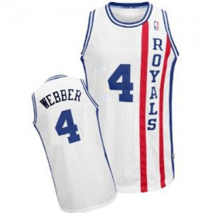 Maillot NBA Authentic Chris Webber #4 Sacramento Kings Throwback Blanc - Homme