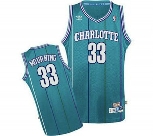 Maillot Adidas Bleu clair Throwback Swingman Charlotte Hornets - Alonzo Mourning #33 - Homme