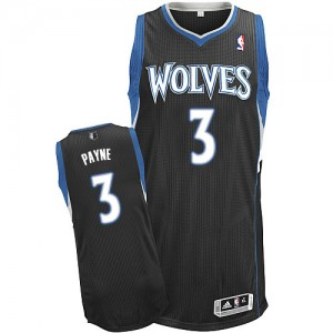Maillot NBA Noir Adreian Payne #3 Minnesota Timberwolves Alternate Authentic Homme Adidas