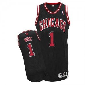 Maillot NBA Chicago Bulls #1 Derrick Rose Noir Adidas Authentic Alternate - Homme