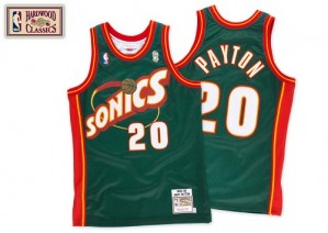 Oklahoma City Thunder Mitchell and Ness Gary Payton #20 SuperSonics Throwback Authentic Maillot d'équipe de NBA - Vert pour Homme