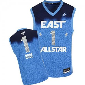 Maillot NBA Bleu Derrick Rose #1 Chicago Bulls 2012 All Star Authentic Homme Adidas