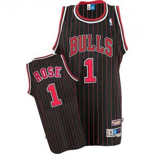 Maillot NBA Noir Rouge Derrick Rose #1 Chicago Bulls Throwback Authentic Homme Adidas